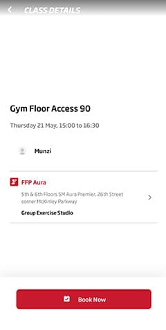 Mobile App How to book gym floor classes